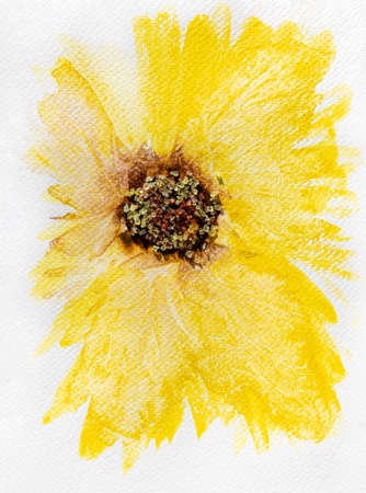 Painted art. Yellow flower or sunflower with 3D center made of salt crystals.