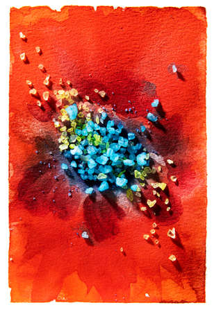 Red flower center big.Bright background hand drawn with blue salt crystals and watercolor paints. Color splashes and splatters create abstract flower on canvas texture. Reklamní fotografie