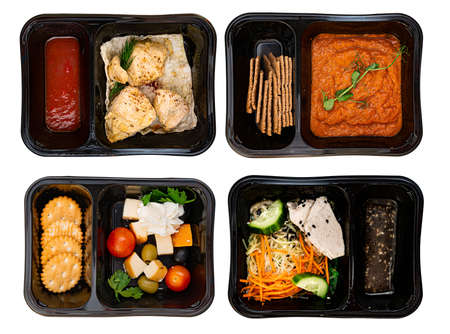 food in containers on a dark background. food delivery. healthy food. over view.