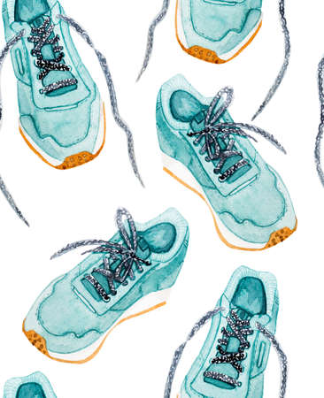 seamless pattern Sports shoes watercolor style illustration isolated on white background Reklamní fotografie