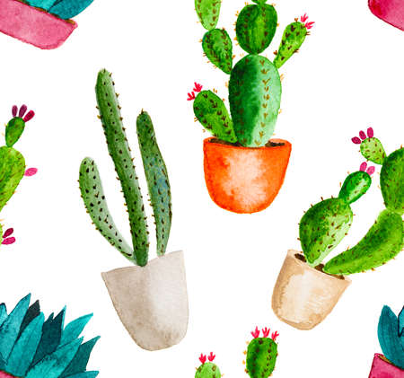 Seamless pattern of high quality hand painted watercolor elements for your design with succulent plants, cactus and more. Reklamní fotografie