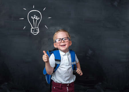 Excellent idea, kid with illustrated bulb above his head. Back to school.