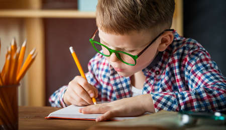 Happy smiling boy in glasses at school for the first time. Kid indoors at home in kids room interior with wooden background. Back to school. Little boy write to blank. Education concept Reklamní fotografie