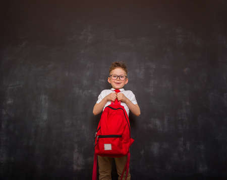 Little boy carrying heavy backpack or school bag full causing stress and pain on back due to overweight against blackboard. Back to school. Reklamní fotografie