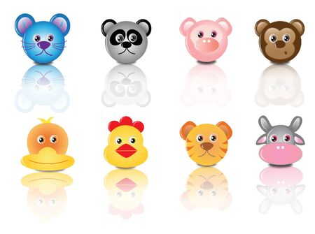 bear mouse panda pig tiger chicken cow and duck illustration Vector