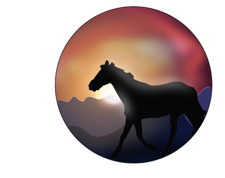 horse in sunset Vector
