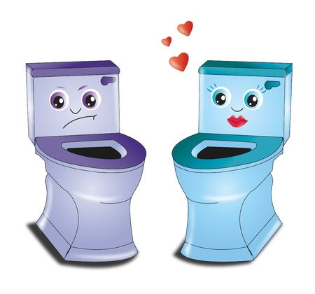 toilet roll: toilet love Illustration