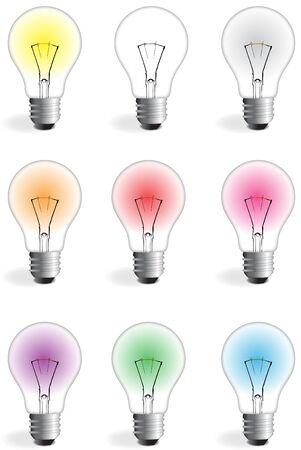 nueve bulbos coloridos con diferentes colores