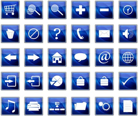 shopping questions: Blue web navigation icons set Illustration