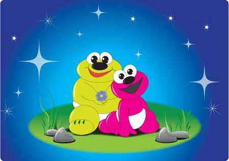 Two little frogi babies at night sky Vector