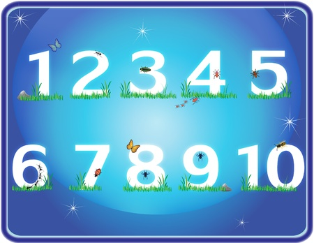 numbers laying on grass in the blue night sky Vector