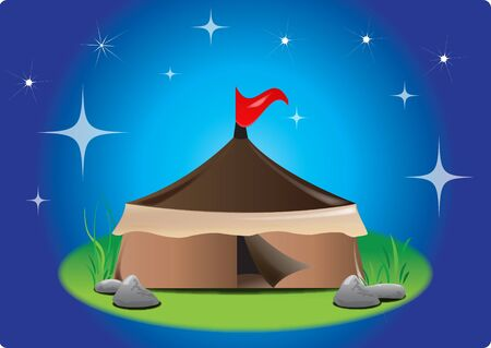 tent with red flag at shining stars night Vector