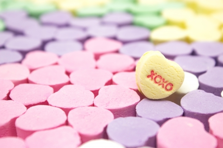 Colorful message hearts with xoxo heart