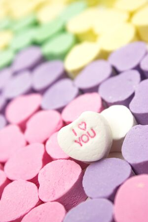 Colorful message hearts with  I love you  heart