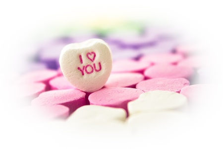 Candy message hearts with vignetted I Love You message