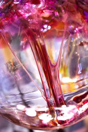 Closeup of colorful hand blown glass