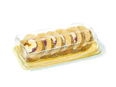 Swiss roll slices in a plastic container