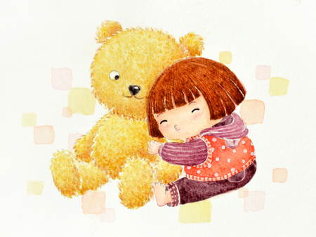 The little girl with a teddy bear
