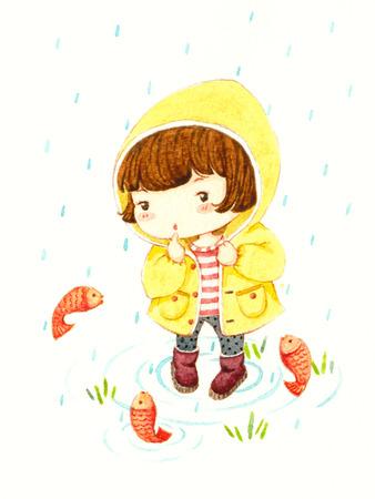Klein meisje in regenjas Stockfoto