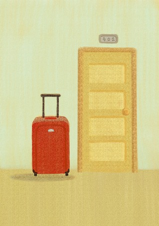 Suitcase for holiday travel, travel illustration