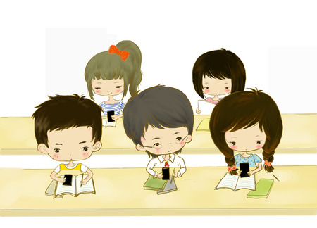 Cartoon illustration of classmates sitting in the classroom