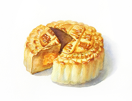 water color painted of mooncake