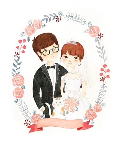 watercolor hand painted of newly wed
