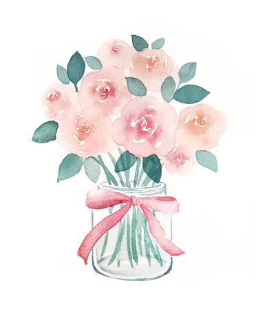 Watercolor hand-painted roses in a glass vase Stock fotó