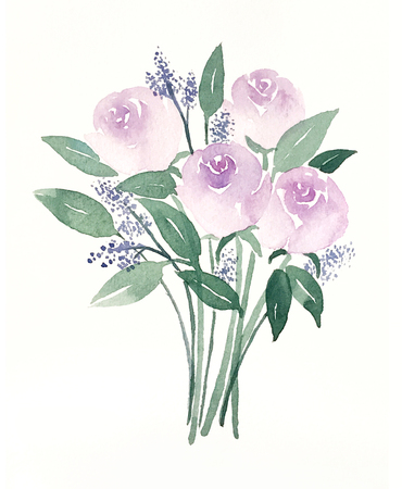 Watercolor hand painted purple roses