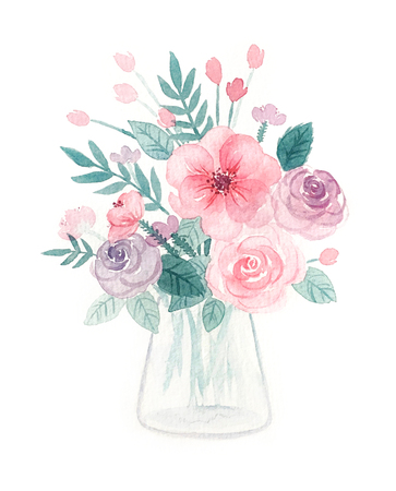 Watercolor of flowers in a vase illustration