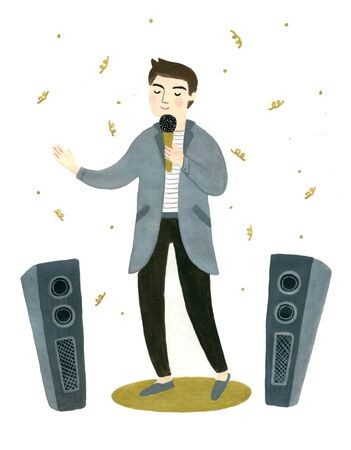 An illustration of a young man singing Stock fotó