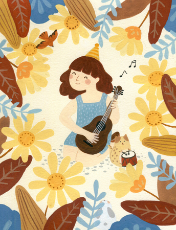 An illustration of a little girl who plays the piano in a flower Stock fotó