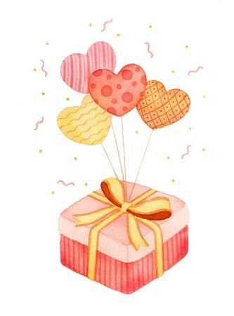 Valentines Day gift box love balloon illustration