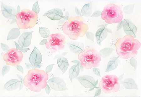 Watercolor hand-painted rose valentines Day background material
