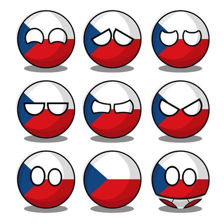 czech countryball Vektorové ilustrace