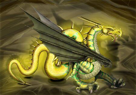図ゴールデンドラゴン。 写真素材