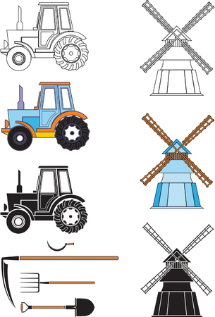 Agricultural Technology. Color and Black Vector