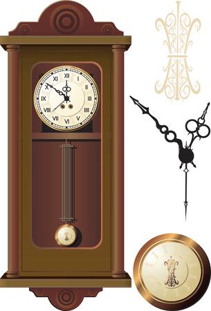 orologi antichi: vecchio orologio da muro Vettoriali