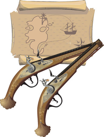 buccaneer: Pirate Pistol and Map. Vector illustration