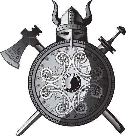 vikingo: El hacha, casco, escudo y espada de Viking