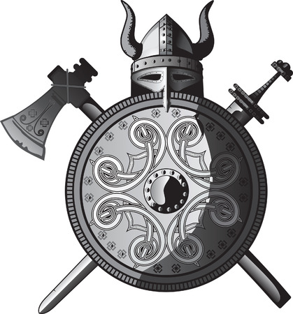 The Axe, Helmet, Shield and sword of Viking Illustration