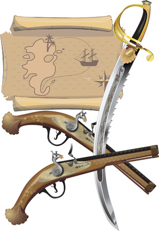 Pirate pistols, sword, and map