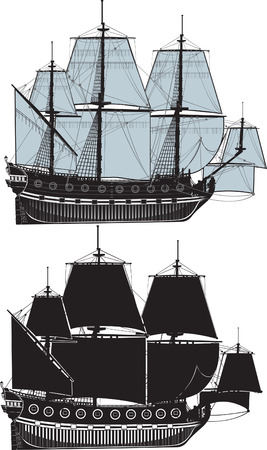 The old sailing ship. The full version and a contour Vector