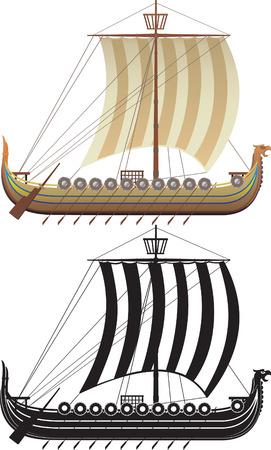 vikingo: La nave Viking. La versi�n completa y un contorno Vectores
