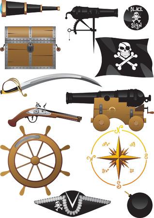 Pirate icon set Illustration