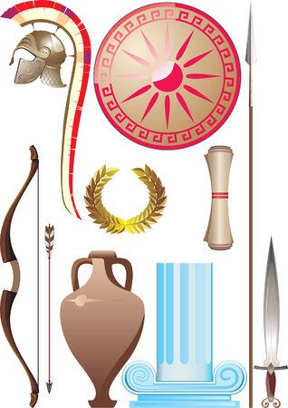 antica grecia: Grecia antica impostare Vettoriali