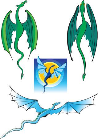 flying dragon: Flying Dragons. Several different dragons. Illustration