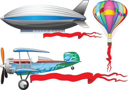 An old airplane, a balloon and airship Vector