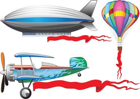 An old airplane, a balloon and airship
