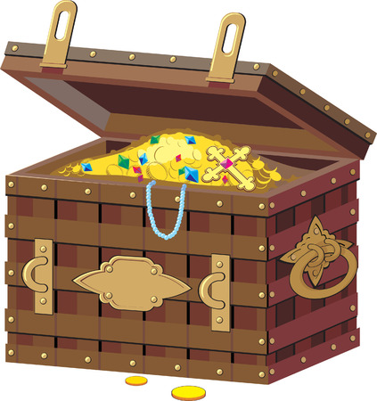 buried: chest with treasures Illustration